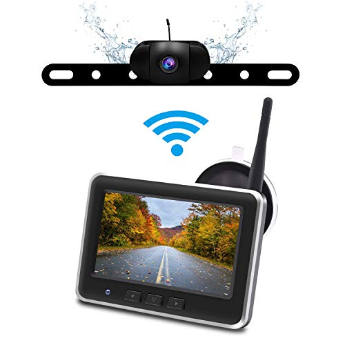 Wireless Backup Camera Monitor Kit,IP68 Waterproof License Plate Reverse Rear View Back Up Car Camera,4.3' TFT LCD Rear View Monitor for Cars, SUV Accfly