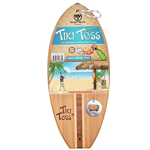 Tiki Toss Hook and Ring Toss Game (Bottle Opener Edition) - Indoor or Outdoor Family Fun Backyard Games for Kids and Adults