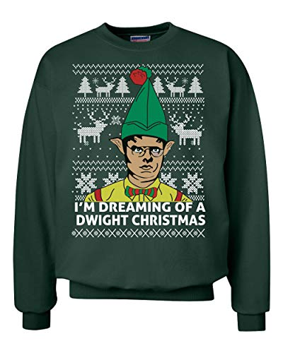 Wild Bobby I'm Dreaming of a Dwight Christmas The Office Schrute Funny | Mens Ugly Christmas Sweater Crewneck Graphic Sweatshirt, Forest Green, Small