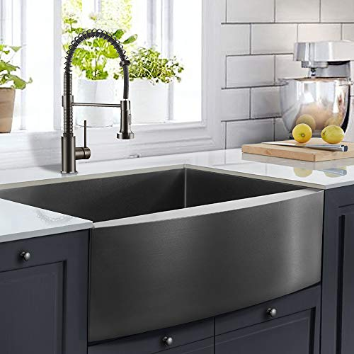ALWEN 30 inch Farmhouse Kitchen Sink, 16 Guage Stainless Steel Single Bowl Sink with Bottom Grid and Strainer, Coated with PVD Nano Surface Gunmetal Black