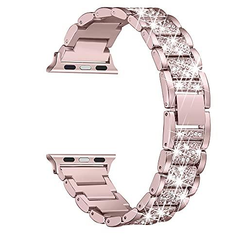Secbolt Bling Bands , Dressy Jewelry Metal Bracelet Adjustable Wristband, Rose Gold