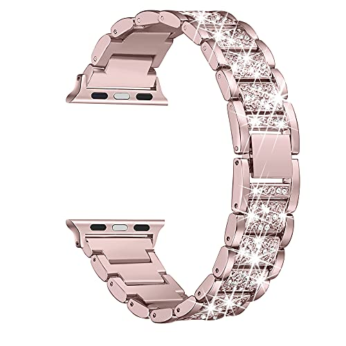 Secbolt Bling Bands Compatible with Apple Watch Band 38mm 40mm iWatch SE Series 6/5/4/3/2/1, Dressy Jewelry Metal Bracelet Adjustable Wristband, Rose Gold