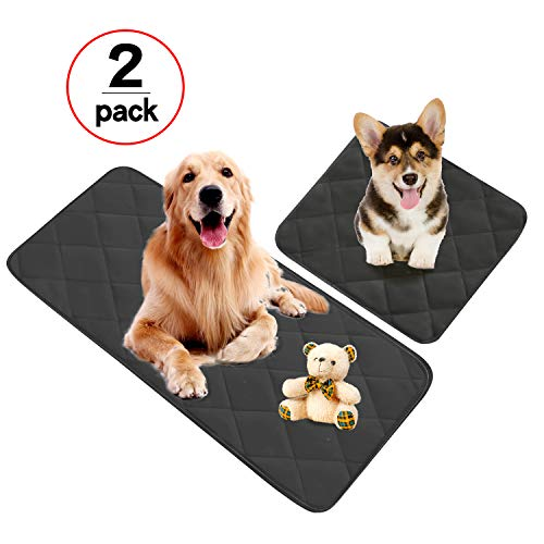 Washable Reusable Pee Pads for Dogs, Dog Bed, Dog Car Mat, Kennel for Home and Travel, Senior Dogs/Puppy Pads - 4 Layers Design with Anti-Skid Bottom - Set of 2 (1 Large & 1 Small) (Black)