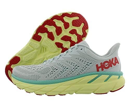 HOKA One One Zapatillas de Correr Clifton 7 para Mujer, Azul (Morning Mist/Hot Coral), 37 1/3 EU