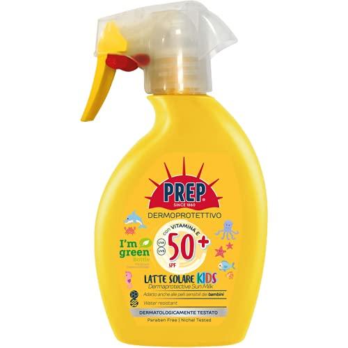 Prep, Trigger Spray Solare SPF 50, Latte Solare Spray Dermoprotettivo, Protezione Solare Raggi UVA e UVB, con Glicerina e Vitamina E, Dermatologicamente Testato, Formato 225 ml