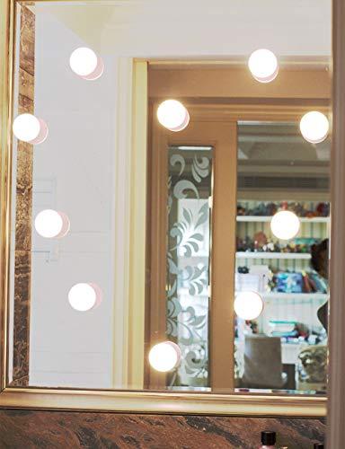Spiegel lichtspiegel met 4 dimbare LED-lampen, 3 kleurmodi en Unlimit helderheid voor make-up en een grote spiegel (kleur: zwart (800 mAh)