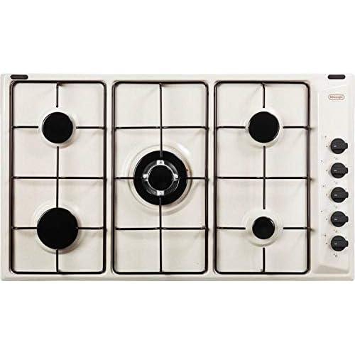 De Longhi - Piano cottura a gas da 90 cm, N° Fuochi 5, colore Sabbia