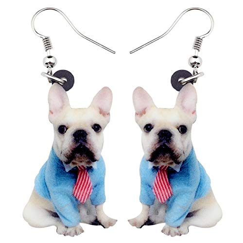 DOWAY Acrylic Sweet Suits Sitting French Bulldog Dog Earrings Dangle Drop Pet Jewelry for Women Girls Charm Gift (Blue)