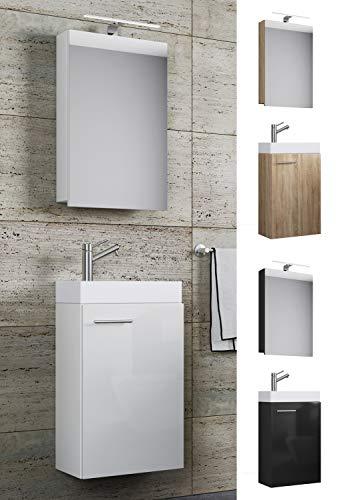 VCM Waschplatz Waschbecken Schrank Spiegelschrank WC Gäste Toilette Badmöbel klein schmal Slito Spiegelschrank Weiß
