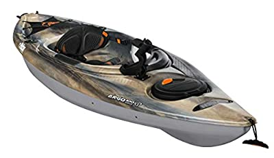 Pelican Recreational Angler Sit-in Kayak - Argo 100XP Angler Sandstone - Magnetic Grey - White -10 Feet Lightweight one Person Kayak Perfect for Fishing - KYP10P209-00