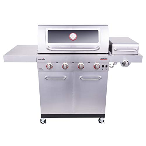 Char-Broil 463255721 Signature TRU-Infrared 4-Burner Cabinet-Style Windowed Gas Grill, Stainless
