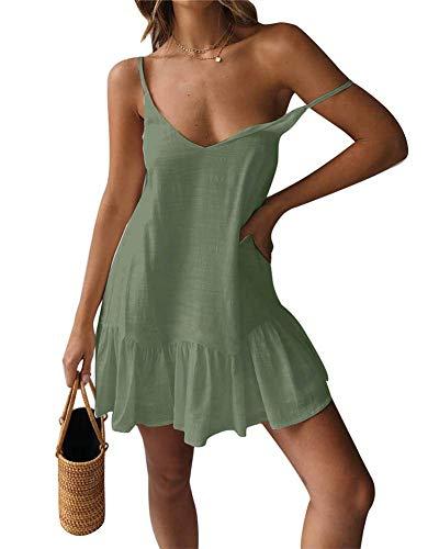 ECHOINE Womens Casual Plain Swing Short Shift Midi Dress Spagehetti Strap Sundress Olive Green