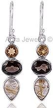 925 Sterling Silver Earrings for Womens & Girls, Drop & Dangle Earrings, Rutile & Smoky Quartz, Citrine Earrings Sterling Silver for Womens & Girls, Gift for Womens, Bridesmaid Gift, Handmade Jewelry