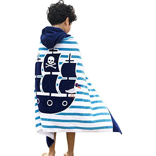 Toallas de playa para niños, para niños y niñas, 100% algodón suave manta de baño con capucha para niños, baño, piscina, playa, coberturas de baño (barco pirato)