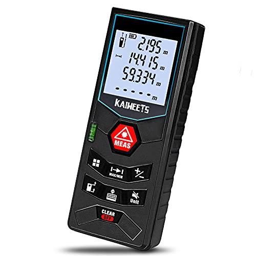 Laser Entfernungsmesser, bis zu 60m/±2mm Messgerät, Kaiweets professional digitales Lasermessgerät (Flächen-/Volumen/Pythagorasberechnung), inkl. 2x1.5-V Batterien, Schutztasche, Trageschlaufe
