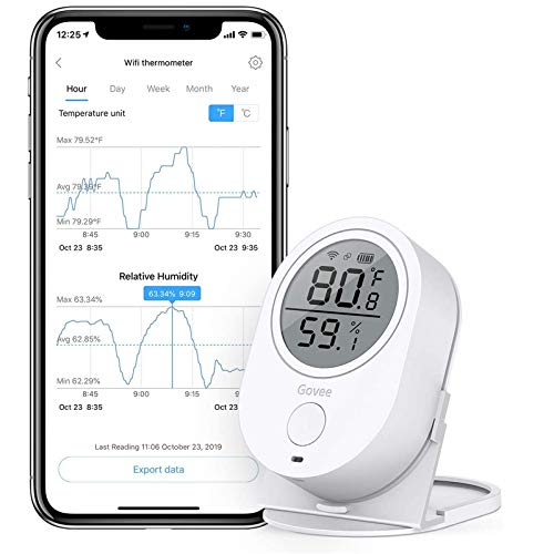 wifi temperature alarms Govee WiFi Temperature Humidity Sensor, Compatible with Alexa, Wireless Thermometer Hygrometer Temp Humidity Monitor for House, Greenhouse, Wine Cellar, Humidor (5G WiFi Not Supported)