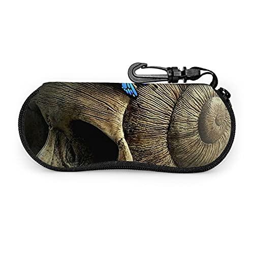 Funda de gafas de sol con diseño de calavera de concha marina con clip para cinturón con cremallera ultra ligera para gafas