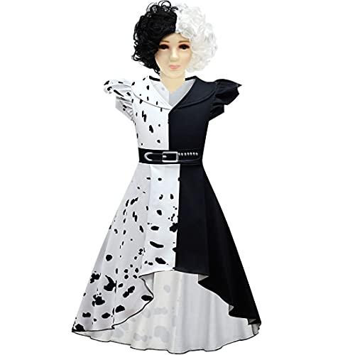 Suyaluoi Disfraz de la película Cruella de Vil para Halloween, cosplay, disfraz de Estella para niños, ropa y peluca, color negro, 11-12 años