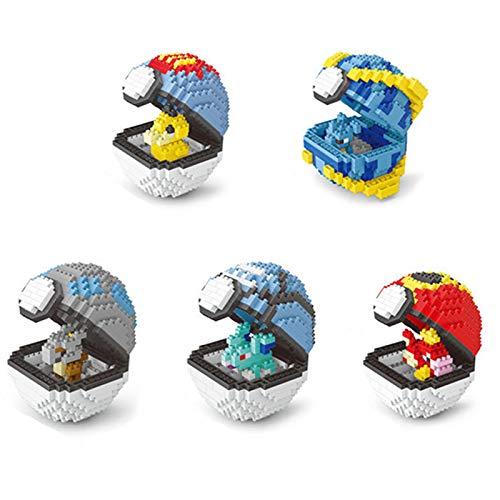 Hengqiyuan DIY Pokemon Kugel, Bauklotz Baustein Modell Baustein-Satz 390+ PCS Kugel Nano Mini-Blöcke Spielt, 3D-Puzzle DIY Pädagogisches Spielzeug Für Kinder Geeignet,A