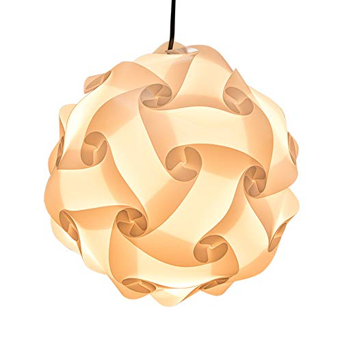 XIHOME IQ PP Lamp Shade Kit 30 Pieces Toy Self DIY Easy Assembled Puzzle Lights for Room Modern Decoration Jiysaw Lampshade Flower Ball Ceiling Pendant Light Design Home Art Room Decor(White,10 inch)