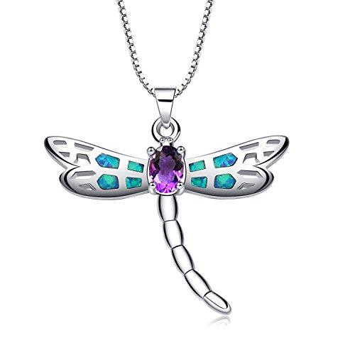 LANMPU Collana con pendente da donna - Dragonfly con blu e verde Opale di fuoco in Argento Sterling e zirconia cubica - catenina veneziana da 18 pollici