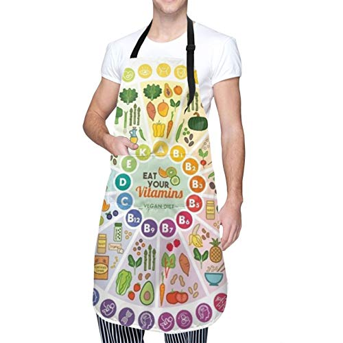 SHENLE Vitamin Vegan Food Sources And Functions Rainbow Wheel Chart With Icons Care Unisex Waterproof Apron, Kitchen Chef Adjustable Apron, With 2 Pockets, Suitable For Barbecue And Cooking