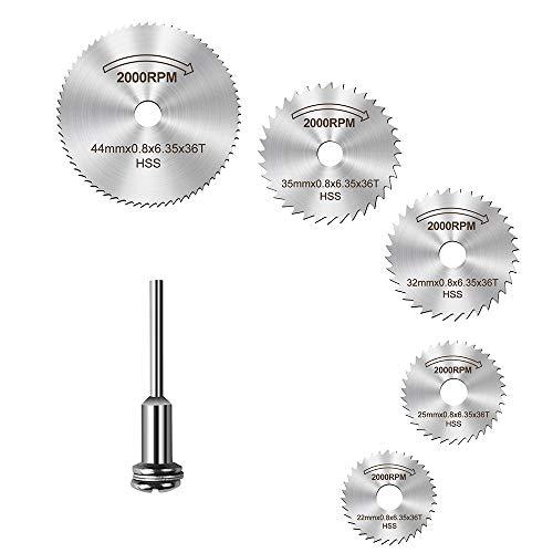 6pcs HSS Saw Scheibenrad Trennscheiben für Bohrmaschinen Präzisionswerkzeuge und Mandrel