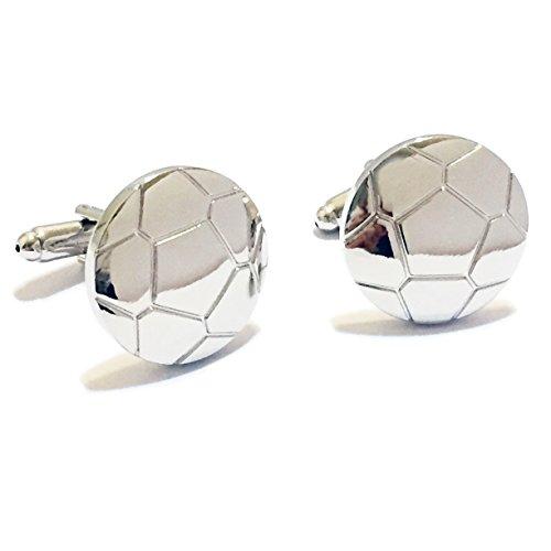 BadmenHome Silver Soccer Ball Association Football Cufflinks