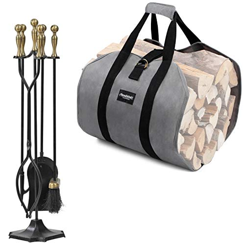 Amagabeli 5 Pieces Fireplace Tools Sets Brass Handles Bundle Firewood Carrier Tote Waxed Canvas Log Tote