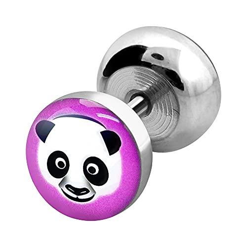 VOTREPIERCING Falso Dilatador Oreja Acero 316L Redondo Impresión Panda 1.2 x 6 mm