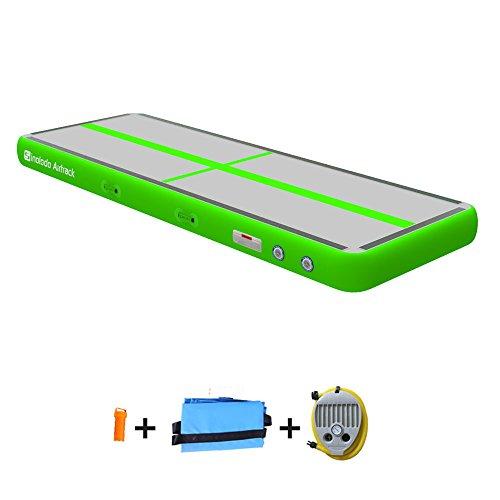Sinolodo - Colchoneta hinchable para animadoras y gimnastas, se puede usar en la playa, en el agua y en casa, 3 m de longitud, 10'x3.3'x4''/3x1x0.1m, A-verde