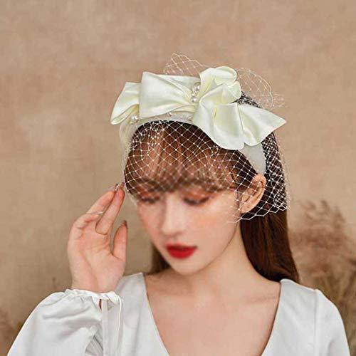 XZJJZ Brautschleier mit Perlen für Vogelkäfig, weicher Tüll, Maske, Haar-Accessoire, Schleier, Mini-Hochzeits-Brauthut