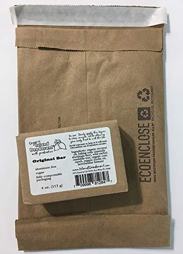 Organic Island Deodorant Original Deodorant Bar with Probiotics, Biodegradable, Plastic Free, Eco-friendly, Zero Waste, 4 oz Bar