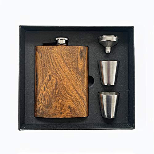 SoBoho 8oz Stainless Steel Maple Flask - Box Includes Flask, Funnel, and Shot Glasses - Perfect for...
