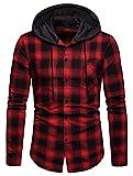 WHATLEES Men's Casual Long Sleeve Hoodie Plaid Slim Fit Flannel Shirt BA0245-Red-M