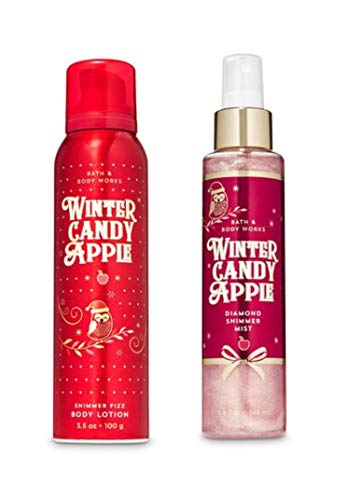 Bath and Body Works - Winter Candy Apple - Shimmer Fizz Body Lotion and Diamond Shimmer Mist - 2 pc Gift Set (Winter 2019)