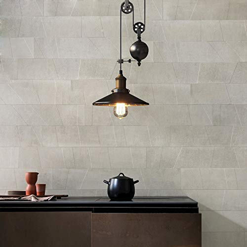 Lightinthebox - Lámpara de techo colgante de metal con diseño de polea, color negro, hierro pintado, estilo vintage industrial, barra de luz de isla para comedor, cocina, pasillo, garaje