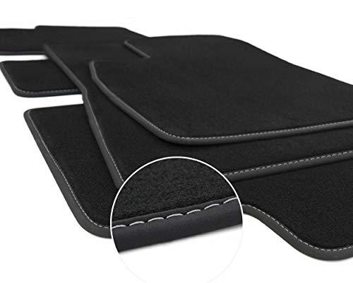 kh Teile Fußmatten Model 3 Tuning Sport Zubehör, (Ziernaht Silber) Automatten Velours 3-teilig