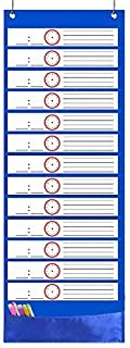 Scheduling Pocket Chart, Daily Schedule Pocket Charts with 14 Pockets, 18pcs Dry Erase Cards for Classroom, Preschool, Homeschool and Softball Team(13x35.5inch)