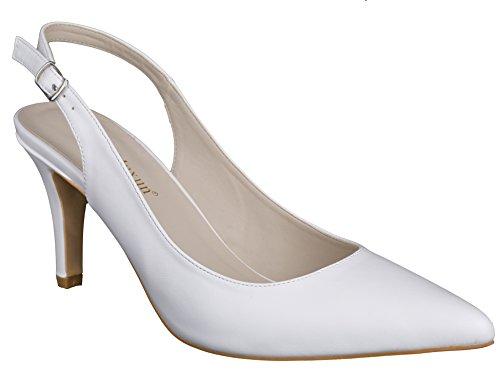 MaxMuxun Zapatos Tacón Puntiagudo Cómodo Blanco