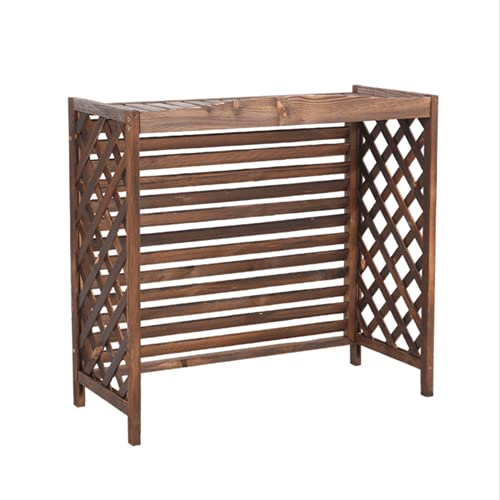YUOPL Air Conditioner Frame, Balcony Flower Stand Outdoor Plant Storage Rack, Air Conditioning Cover, Wooden Decorative Cover Outdoor Shelf Flower Holder