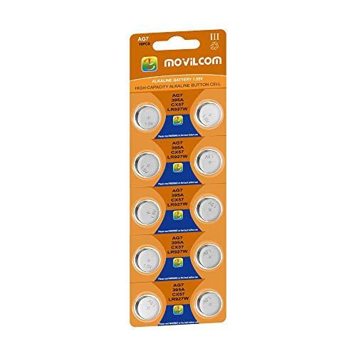 MovilCom® - Pila botón AG7 Pila Reloj 1.5V Equivalente a SR927W, V399, 399, SR927, D399, S926E, W, LR927, SR57
