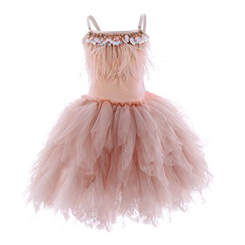 OBEEII Little Girl Swan Princess Feather Fringes Tutu Dress First Communion Party Wedding Dance Junior Bridesmaid Short Tiered Gown Pink 3-4 Years