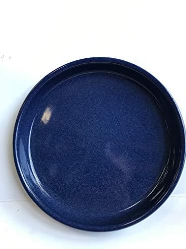 K&K Keramik, sottovaso rotondo per vaso Venus II, con o senza manico, 19x15 cm,Ø 16cm, colore blu fiammato, in gres (ceramica di alta qualità)