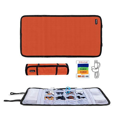 Teamoy Travel Cable Organizer, Cord Bag/USB Drive Shuttle Case/Electronics Accessory Organizer, Orange