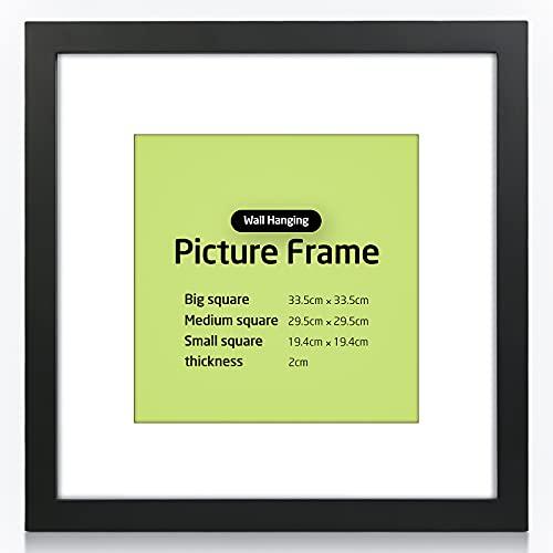 30 x 30 cm Marco de fotos para rellenar, marco de objeto con corazones de madera, marco de fotos con cristal acrílico irrompible, reutilizable, ideal para carteles, retratos, fotos, pintura (negro)