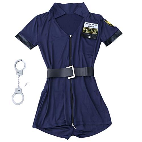 VILLCASE Disfraz de Policía Sexy Traje de Fiesta Duradero Divertido Creativo Seductivo Disfraz de Policía Uniforme de Coqueteo para Mujer