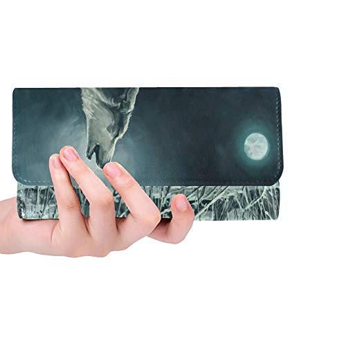 Einzigartige benutzerdefinierte Herde Wölfe Nachtführer heult Mond Frauen Trifold Wallet Lange Geldbörse Kreditkarteninhaber Fall Handtasche