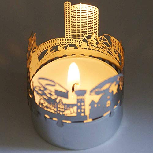 13gramm Oberhausen-Skyline Windlicht Schattenspiel Souvenir, 3D Edelstahl Aufsatz für Kerze inkl. Karte