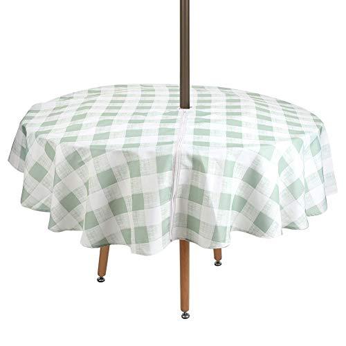 Zwindy 152cm Moderna Cubierta de Mesa Redonda Simple Protección de Mantel Impermeable con Cremallera para el Restaurante del Hotel en casa, fácil de Desmontar y Limpiar.(Verde)